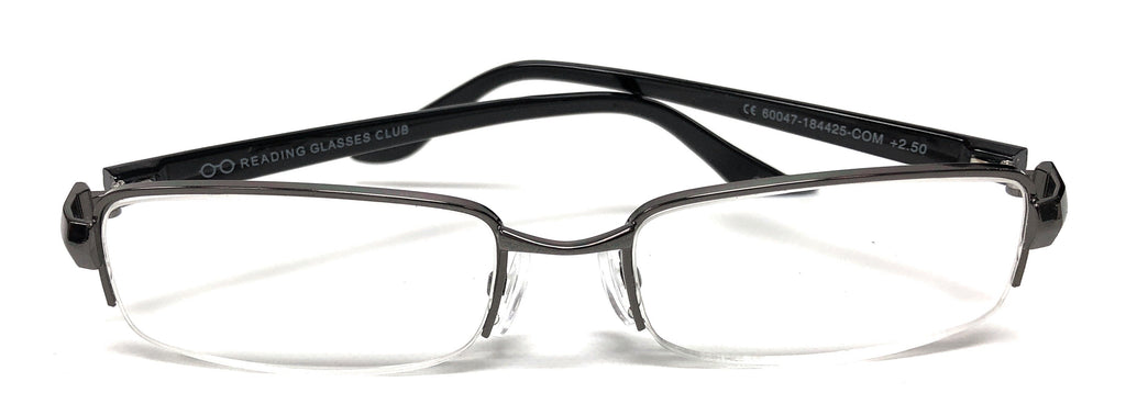 Unisex Men Women Semi Rimless Metal Reading Glasses 60047 Readers +2.50 +2.75