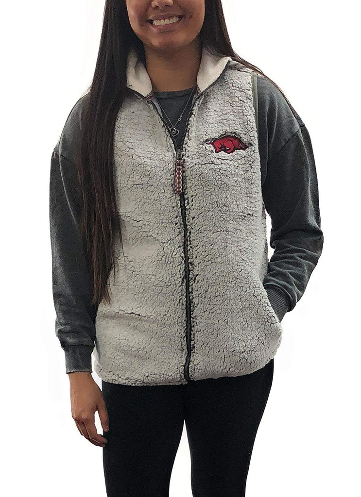 Arkansas Razorbacks Full Zip Fleece Sherpa Poodle Vest, Small
