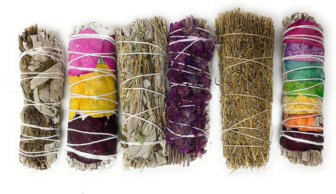 Sage Variety Smudge Sticks - 6 Smudge Sticks for Cleansing, Healing, Meditation - 7 Chakra, Peppermint White Sage Mix, Rose Petal Sage, Sage Brush, Lavender with White Sage, Yerba Santa Blue Sage White Sage Mix
