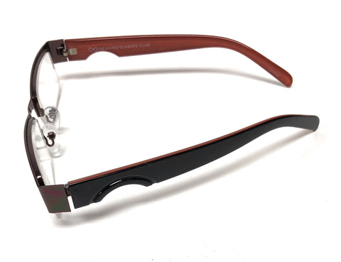 Unisex Men Women Metal Coffee Semi-Rimless Reading Glasses Readers 1.50, +2.00, +2.25, +2.75, +3.00
