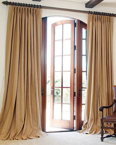 #P2015 Double Window BURLAP Look-A-Like Fabric PLEATED DRAPES