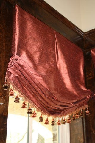 #155  Silk Relaxed Roman Shades with Trim    PAY 1/2 DOWN