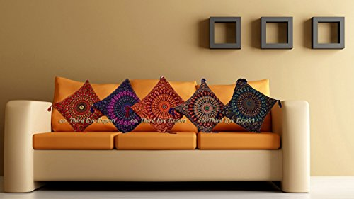 "16X16"" Indian Ethnic Mandala Peacock Bohemian Set of 5 Decorative Colorful Cotton Square For Sofa Set Home Decorative Boho Throw Pillow Case Cushion Cover"
