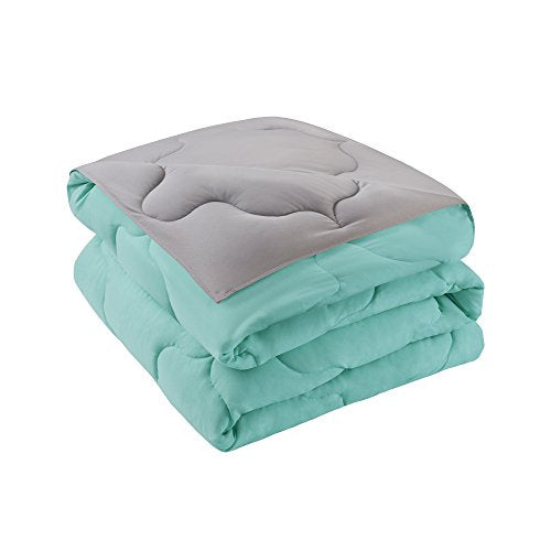 Comfort Spaces – Vixie Reversible Down Alternative Comforter Mini Set - 3 Piece – Aqua and Grey – Stitched Geometrical Pattern – Full/Queen size, includes 1 Comforter, 2 Shams