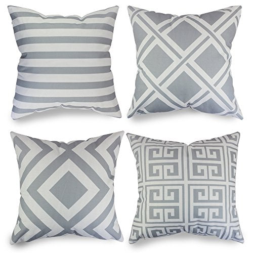 Tremendous Popeven Grey Geometric Pattern Pillow Covers Decorative Sets Of 4 Sofa Pillow Case For Living Room Throw Pillows Sets For Couch Gmtry Best Dining Table And Chair Ideas Images Gmtryco