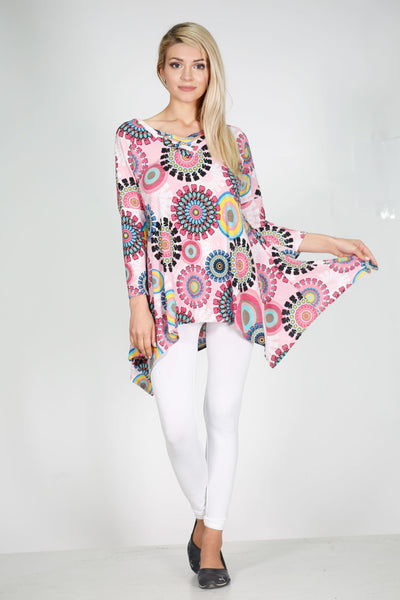 #6000WFC22029  Pink Pattern V-Neck Criss Cross Tunic Top