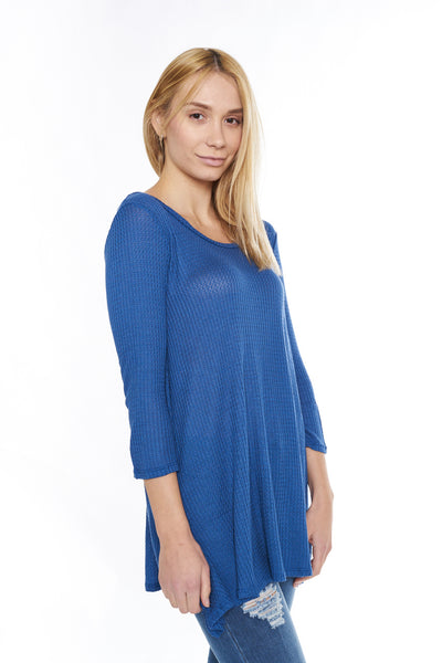 #6001WFC24029  Royal Blue 3/4 Sleeve Ribbed Tunic Top