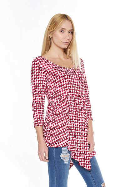 6002WFC24308  Wine Cream Houndstooth Print 3/4 Sleeve V-Neck Tunic Top