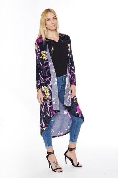 6003WFC Navy Flowers Long Sleeve Velvet Dropped Back Cardigan