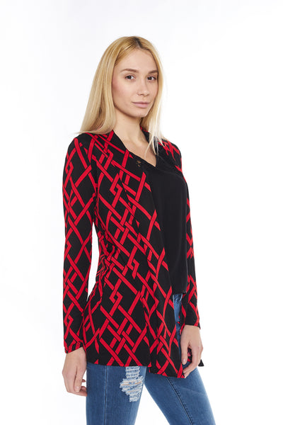6004WFC24264   Red Black Geometric Print Long Sleeve Cardigan