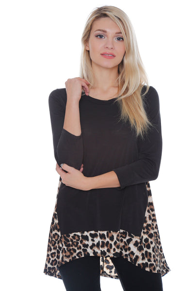 #6006WFC24158   Animal Print 3/4 Sleeve Hi-Lo Tunic Top