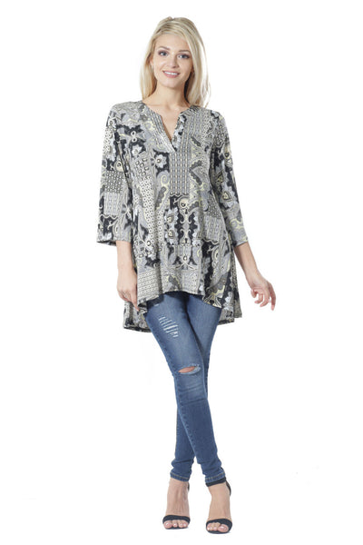 #6009WFC21722  Black Yellow Print Long Sleeve Split V-Neck Tunic Top