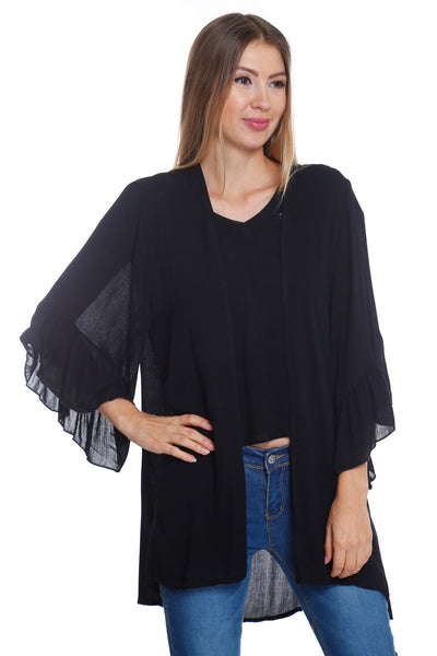 6016WFC23347   Black Bell Sleeve Cardigan