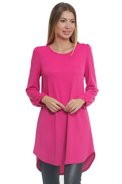 6019WFC23012   Fuchsia Long Sleeve Tunic Top