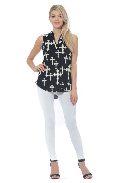 6020WFC21806   Black White Cross Top