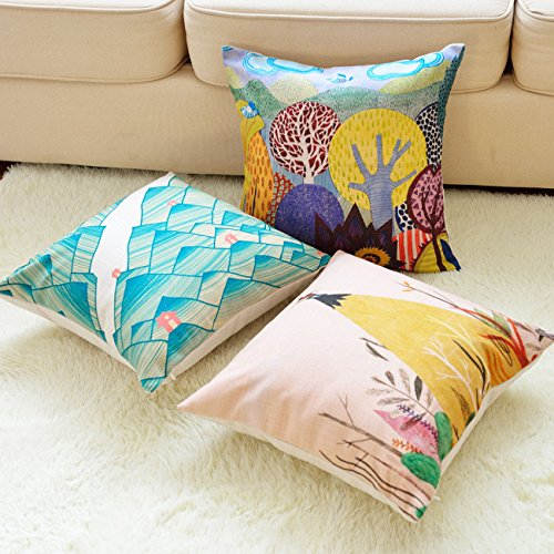 sykting Throw Pillow Covers 18 x 18 Square Pillow Cases Set of 5 Printing Ser...