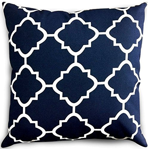 Decorative Square 18 X 18 Inch Throw Pillows Navy White Moroccan Qua By Harrington