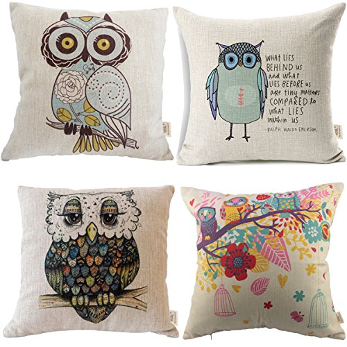 HOSL Owls pattern Square Decorative Throw Pillow Case Cushion Cover Set of 4