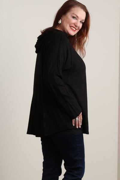 #7004BW    PLUS Black Fleece Hoodie Tunic