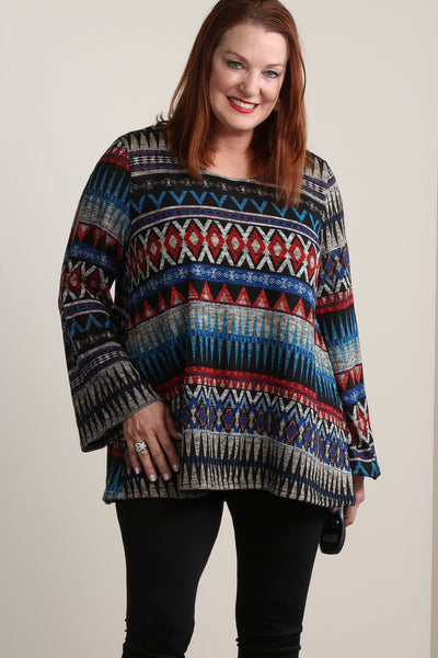 #7006BW    PLUS Multi-Color Tribal Sleeve Tunic