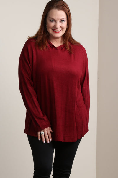 #7007BW    PLUS Ruby Red Fleece Hoodie Tunic