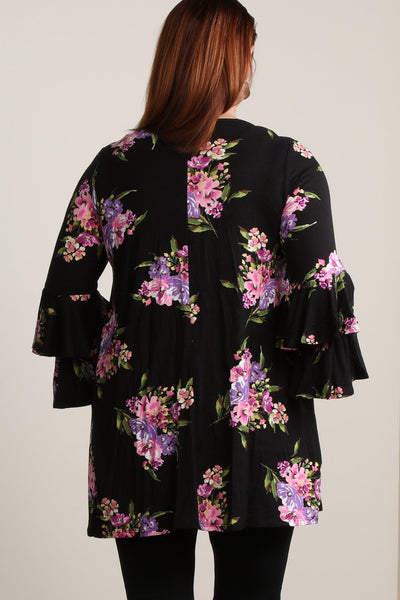 #7010BW    PLUS Floral Tiered Ruffle Sleeve Tunic