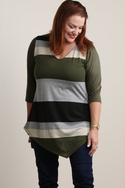 #7011BW    PLUS Green Multi-Color Stripe Tunic with Side Scarf Hem