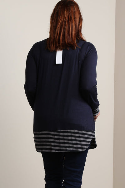 #7012BW   Navy PLUS Tribal Blouse