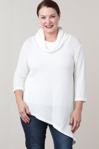 #7014BW    PLUS Ivory Mesh Cowl Neck Asymmetrical Sweater Tunic