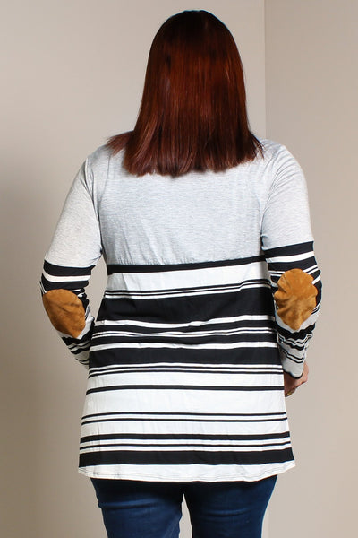 #7015BW    PLUS Stripe Elbow Patch Tunic (in Ivory/Red or Grey/Ivory)