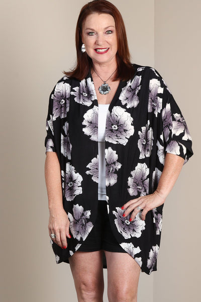 #7018BW    PLUS Floral Open Cardigan