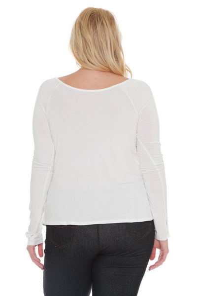 #7023WFC    PLUS White or Lime Long Sleeve Wrap Top