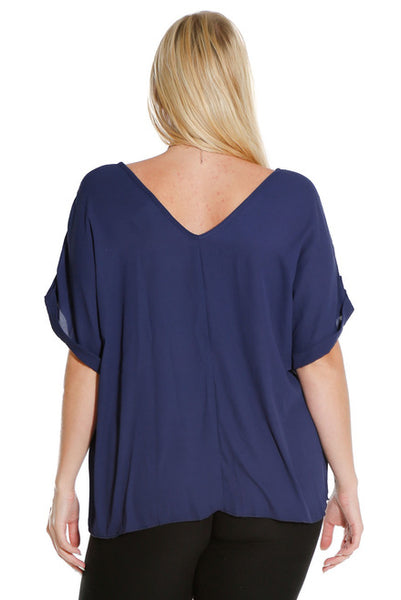 #7027WFC    PLUS Navy Blue Chiffon Short Sleeve Top