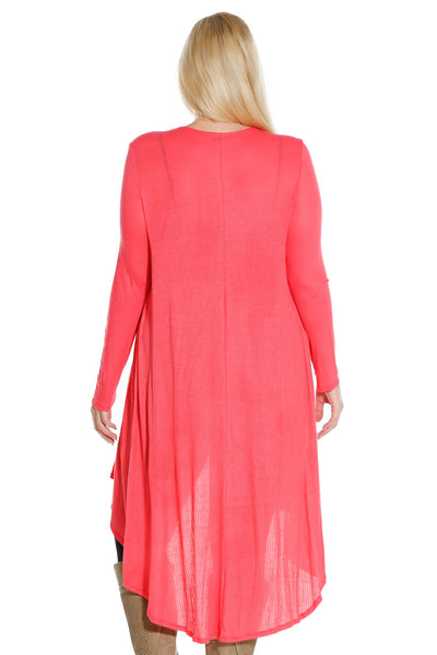 #7029WFC    PLUS Coral or White Long Sleeve Ribbed Dropped Back Cardigan