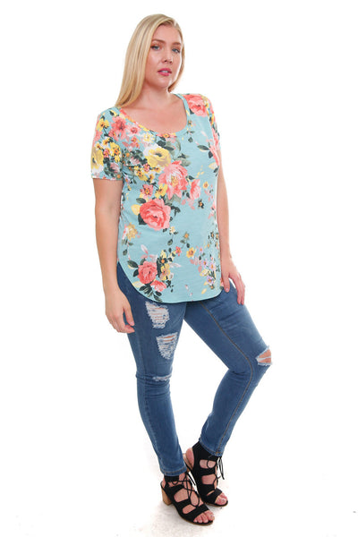 #7034WFC    PLUS Mint Yellow Peach Flowers Short Sleeve Round Neck Casual T-Shirt