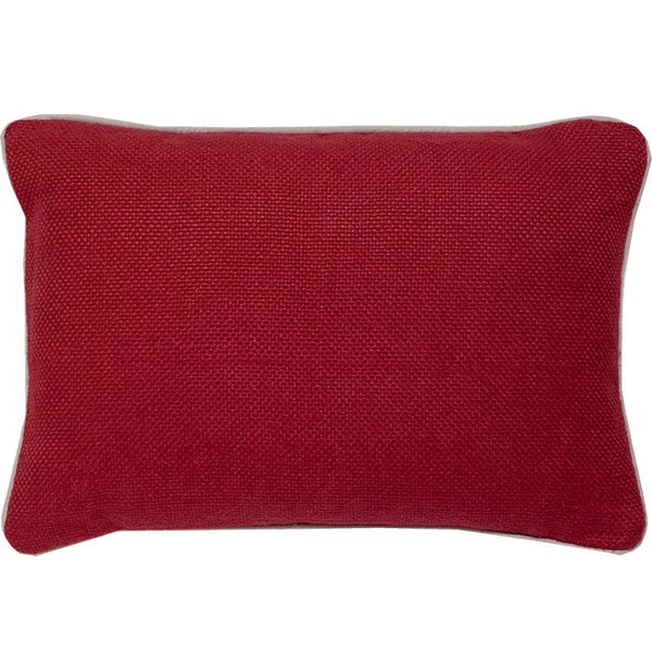 #C916 Red Basket Weave PILLOW 14 x 20