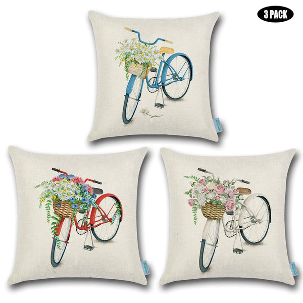 TP34 Vintage Bicycles Throw Pillows Group