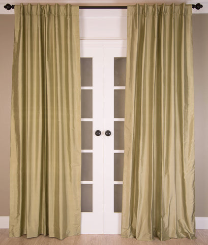 "#7P312 "" Greens"" SILK Curtain (Use Discount Code)"
