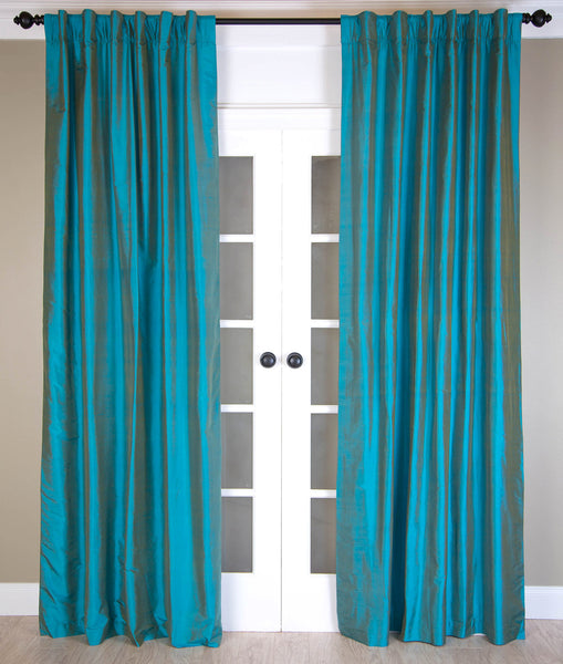#P317 Teal Blue SILK Curtain (Use Discount Code) Pay 1/2 Down