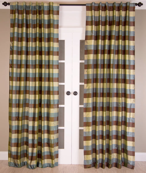 #15P379 Small Silk Check Curtain (Use Discount Code) Pay 1/2 Down