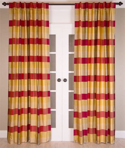 #14P3 Large Silk Check Curtain (Use Discount Code)