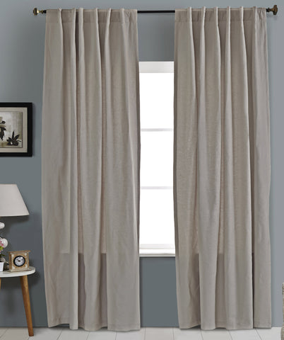 #1P505  Cotton Blend Curtains in Greys (Use Discount Code) YOU PAY 1/2 DOWN