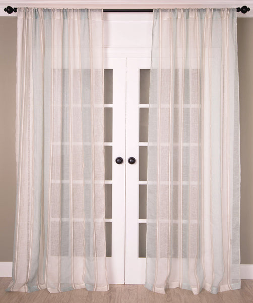 Copy of #P512Torquoise Linen Stripe Curtain (Price coming soon) You Pay 1/2 Down