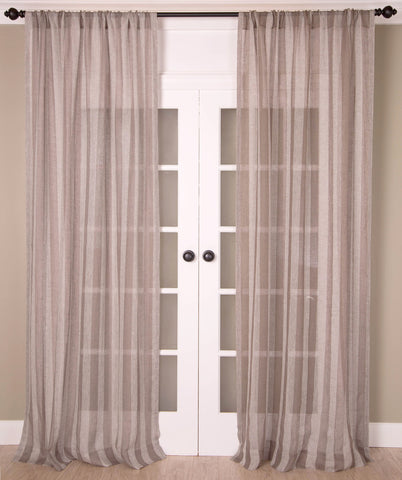#P5501 Taupe Linen Stripes Curtain (Use Discount Code)