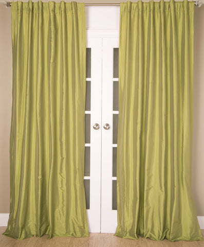 #4P550  Green Faux Silk Curtain (Use Discount Code)