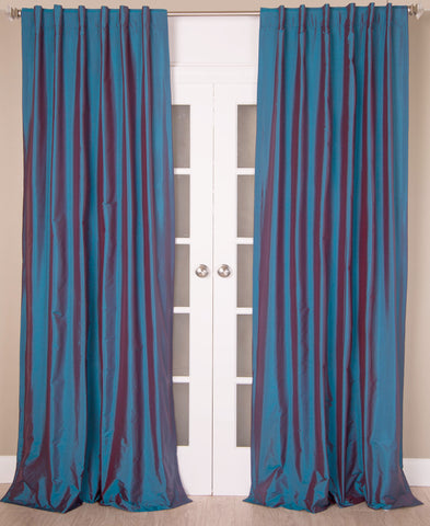 #7P550 {Blues} Faux Silk Curtain (Use Discount Code)