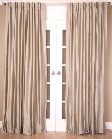 #8P550 Silver/Grey Faux Silk Curtain (Use Discount Code)