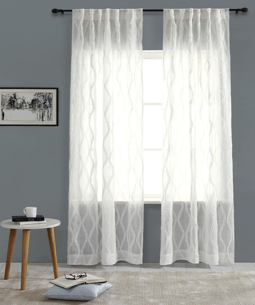 #P5523 White Fraying Curtain (Use Discount Code)