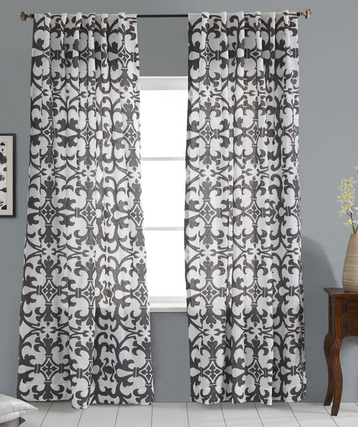 #P5526 Grey Print Embroidery Curtain (Use Discount Code) Pay 1/2 Down