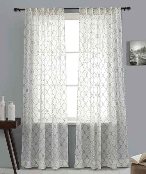 #P5527 Ivory Linen Embroidery Curtain (Use Discount Code)